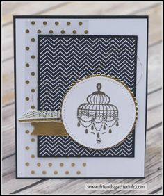 Elegant Handmade Card using the Builder Birdcage stamp set by Stampin' Up!