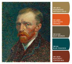 Self-Portrait by Vincent van Gogh   15 Exquisite Palettes Inspired By Our Favorite Paintings Copper, Antique Gold, Bronze and Peacock? Plus a slightly burnt orange, the only kind of orange I find acceptable? Oh, yes.