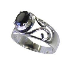 silver Ring Black Oynx Ring Black silver Ring 925 Black Oynx Ring Gemstone Ring Antique Filigree Leaf Ring Linked Flowers Ring by RiyoGems