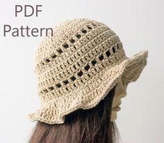 Sun Hat Crochet Pattern, Autumn Hat,  Instant Download, Beach Hat PDF Pattern, Crochet Hat Pattern, Summer Brimmed Hat Pattern by beadedwire on Etsy https://www.etsy.com/au/listing/226411056/sun-hat-crochet-pattern-autumn-hat