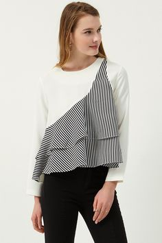Clara Striped Ruffle Blouse Discover the latest fashion trends online at storets.com