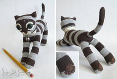 Whether you are new to crafting or are an experienced crafter, we bet you've seen the cute sock monkey crafts. Sock Monkeys are lots of fun to make. They starte Sock Monkey Crafts, Sock Crafts, Cat Crafts, Sock Monkey Pattern, Plush Pattern, Cat Pattern, Sock Bunny, Diy Y Manualidades, Sock Toys