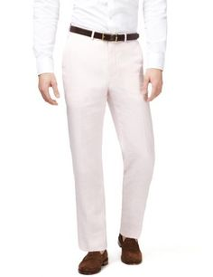 Pink linen summer trousers by M - these are cut in a very fine Italian linen - a very good option for £69.99!