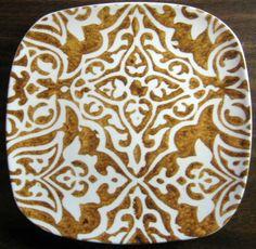 Exotic Brown Faux Batik on White Square Plate Tile M Square Plate Set, Animal Print Rug, Exotic, Decorative Plates, Tile, Porcelain, Snacks, Brown, Dishes