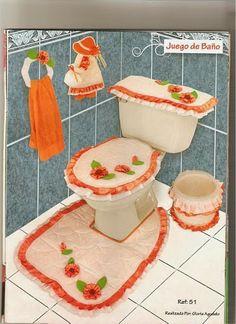 deco ... baño - orange Bathroom Crafts, Bathroom Sets, Quilting Projects, Sewing Projects, Diy Toilet Paper Holder, Toilet Accessories, Quilted Ornaments, Dream Bathrooms, Craft Work