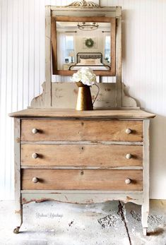 SOLD-Antique dresser with mirror vanity farmhouse cottage hand painted changing table Dresser Makeovers Changing Cottage Dresser Farmhouse hand mirror Painted SOLDAntique Table Vanity Farmhouse Bedroom Decor, Farmhouse Furniture, Rustic Furniture, Vintage Furniture, Diy Furniture, Modern Furniture, Outdoor Furniture, Furniture Stores, Furniture Design
