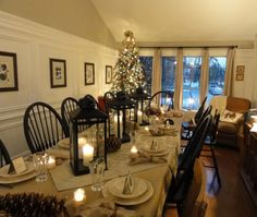 Totally agree with having the tree up for Thanksgiving dinner. Like the way the table is dressed