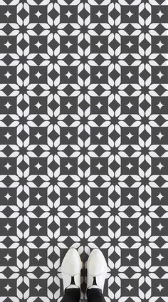 Lotus is a Traditional Tile Vinyl Flooring design that is a geometric and floral-inspired contemporary take on traditional tile design, featuring modern minimalist colours. #vinyl #flooring #inspiration #design #decor #home #homedecor #interior #interiordesign #Ihavethisthingwithfloors #tiles #tiledvinyl