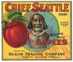 CHIEF SEATTLE Vintage Washington Apple Crate Label, mint