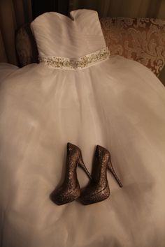 A beautiful wedding dress.