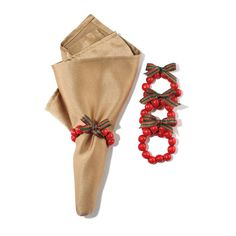 #Avon Living Heritage Holiday #Napkin Rings Set of 4. These festive napkin holders make the ultimate table accessories for your holiday party. Red berry napkin rings on elastic with bow. Bow has red and green plaid design. Reg. $9.99. #C24 #Christmas ##AvonLiving #Holiday #Heritage #NapkinRings #HolidayDecor #KitchenDecor #ChristmasDecor #Gift #GiftIdeas Shop Avon Online @ www.TheCJTeam.com
