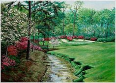 """Victor Wood's landscape painting of the """"Amen Corner"""" at Augusta National, home of Masters Golf Tournament."""