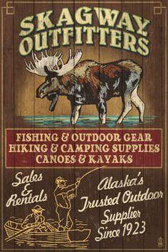 Skagway, Alaska - Moose Outfitters Vintage Sign