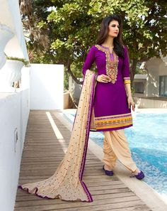 Buy Purple Cotton Cambric Patiala Suit 68122 online at lowest price from huge collection of salwar kameez at Indianclothstore.com.