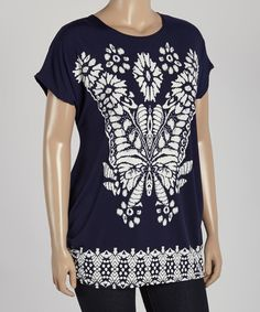 Look what I found on #zulily! Boom Boom Navy & White Butterfly Tee - Plus by Boom Boom #zulilyfinds
