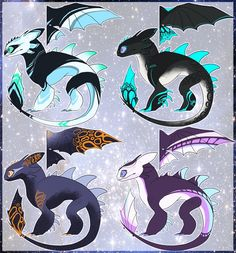 Colored sketches from 💕✨ . Httyd Dragons, Cool Dragons, Cute Disney Drawings, Cute Drawings, Creature Drawings, Animal Drawings, Dragon Artwork, Dragon Drawings, Night Fury Dragon