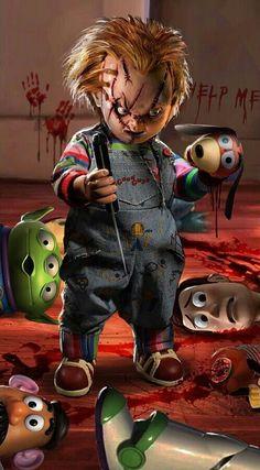 """Chucky"" by John Gallagher (also known as Uncannyknack) Horror Cartoon, Funny Horror, Horror Icons, Horror Films, Halloween Horror, Halloween Art, Chucky Movies, Dark Comics, Horror Costume"