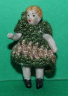 Vintage Dolls House Tiny Wire Jointed Bisque German Hertwig Doll