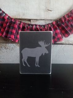 MOOSE Mini Sign, Adventure Series Mini Signs, Tiered Tray Decor, Shelf Decor Patriotic Decorations, Halloween Decorations, Fabric Garland, Hudson River, Tray Decor, Best Friend Gifts, Felt Flowers, Photo Props, Moose