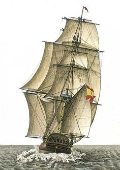 Fragata Española del porte de 40 cañones vista por la popa navegando a un largo. Agustín Berlinguero