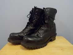 1990's Black Leather Logger Style Boots Men's Size 12 D Used Unknown Brand #Unknown #Bootslogger