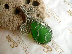 Wire Wrapped Emerald Gem Sea Glass pendant Genuine Sea by Spti, $25.70