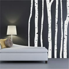 Birch Tree wall decals against dark background.