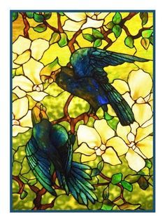 The Parrot inspired by the work of Art Nouveau and Stained Glass Artist Louis Comfort Tiffany Counted Cross Stitch or Counted Needlepoint Pattern #StainedGlassDrawing