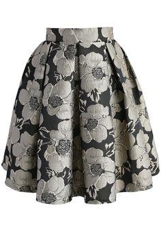 Shiny Blossom Jacquard Skirt - New Arrivals - Retro, Indie and Unique Fashion
