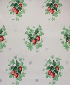 1940's Vintage Wallpaper Strawberries - Rosie's Vintage Wallpaper