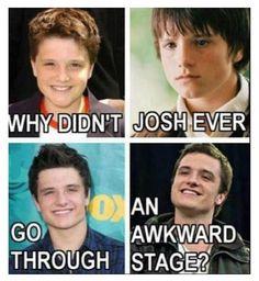 Why didn't Josh ever you through an awkward stage? #joshhutcherson #lol #funny