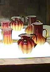 New England Plated Amberina - Two Styles of Pitchers and a Celery Vase