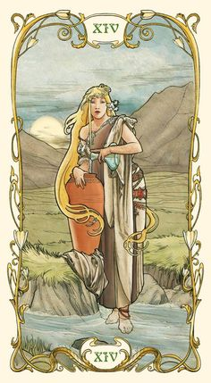 Temperance - Tarot Mucha. Upright: Balance, moderation, patience, purpose, meaning. Reversed: Imbalance, excess, lack of long-term vision.