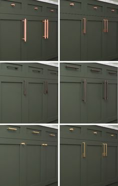 Cabinetry hardware - Spotlight On Solid Brass Hardware – Cabinetry hardware Green Kitchen Cabinets, Kitchen Knobs, Brass Kitchen, Kitchen Cabinet Hardware, Bathroom Hardware, Kitchen Redo, Kitchen Remodel, Hardware For Cabinets, Kitchen Cupboard Handles