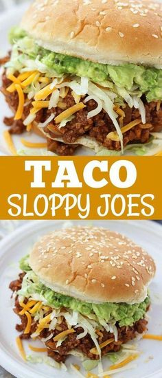 These Taco Sloppy Joes are the perfect mix of two dinnertime favorites! - These Taco Sloppy Joes are the perfect mix of two dinnertime favorites! They are quick, easy to mak - Beste Burger, Good Food, Yummy Food, Awesome Food, Think Food, Le Diner, Beef Dishes, Ground Beef Recipes, Quick Meals