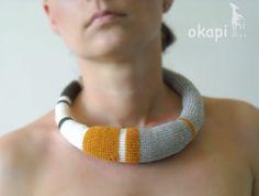 striped knitted okapi necklace. $40.00, via Etsy.