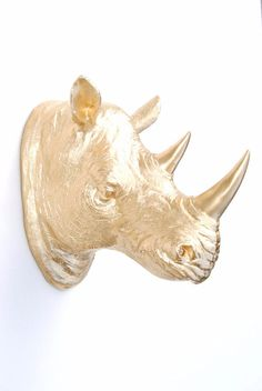 This rhino head wall mount is made of resin by art crafters Near and Deer. It has a vibrant appearance with a strikingly modern aesthetic. It is available in limited quantities in the most popular color combinations. Near and Dear can customize the color for you; include in the Order Notes during checkout the general color you have in mind or even an exact shade, and we will create your Near and Deer piece with the exact custom color of your choice. Show off your love for animals by…