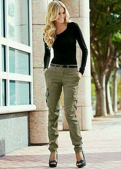 Olive pants, black top, black heels