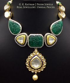 Visit gkratnam.com or click on this picture for pricing and other details | Diamond Polki | Vilandi | Polki | Uncut diamonds | Old cut diamonds | Traditional | Indian | Bridal | Wedding | Kundan Meena | Jadau | Jadtar | Hallmarked | Gold | Enamel | Jewelry | Jewellery | Necklaces | Necklace Sets