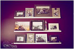 I love the shelves. I am terrible at lining up pictures, this would make that easier! creative wall displays | get those photos off your hard drive | ClickinMoms