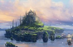 View an image titled 'Ruli Island Art' in our The Last Story art gallery featuring official character designs, concept art, and promo pictures. Fantasy Art Landscapes, Fantasy Landscape, Landscape Art, World Of Fantasy, Fantasy Places, Environment Concept Art, Environment Design, The Last Story, Fantasy Island