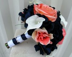 navy, white, and salmon peonies weddings - Google Search