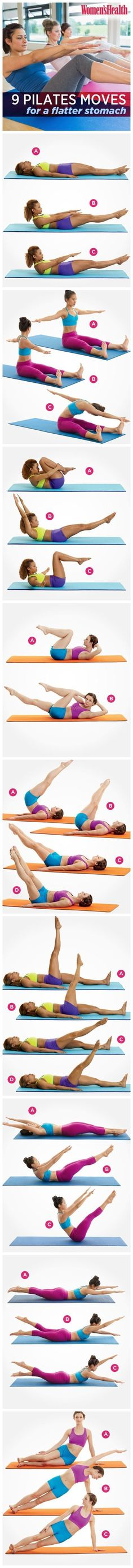 8 Pilates Exercises for a Tighter Tummy Bored with your abs workout? Try these 9 Pilates Moves For A Flatter Stomach. Pilates Abs, Pilates Training, Pilates Workout, Ab Workouts, At Home Workouts, Pilates Fitness, Workout Videos, Pilates Reformer, Yoga Videos