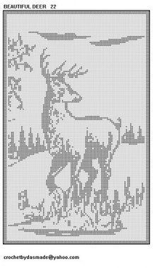 Beautiful Deer Scene Filet Crochet wallhanging doily pattern 22 | CROCHETBYDASMADE - Patterns on ArtFire
