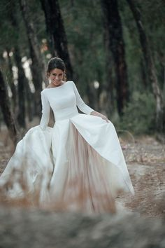 Discount 2017 White And Champagne Wedding Dresses A Line Bateau Neck Backless Country Bridal Gowns With Sleeves Chapel Train Custom Wedding Dress Necklines, Wedding Dress Chiffon, Modest Wedding Dresses, Bridal Dresses, Winter Wedding Dresses, Simple Wedding Gowns, Long Sleeve Wedding, Simple Wedding Dress Sleeves, Wedding White