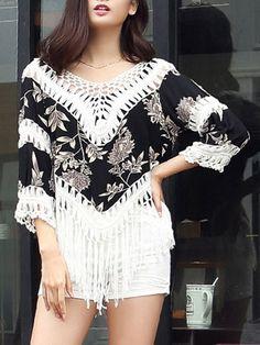 V-Neck Fringe See-Through Crochet Printed Tunic