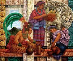 "Art credit / ALFREDO VIVERO ""Chocolate- Bebida de los dioses"" / Chocolat - Boisson des dieux / Chocolate - Drinking of the gods Mexican Fabric, Western Caribbean, Mexico Art, Aztec Art, Mesoamerican, Chicano Art, Inca, American Art, Street Art"