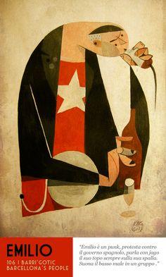 106 | Barrì Gotic / Riccardo Guasco #riccardoguasco #illustrazione #vintage #disegno #geometrico