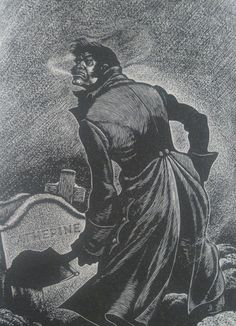 Heathcliff digging up Cathy's grave by Fritz Eichenberg