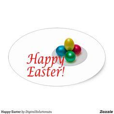 Happy Easter Oval Sticker
